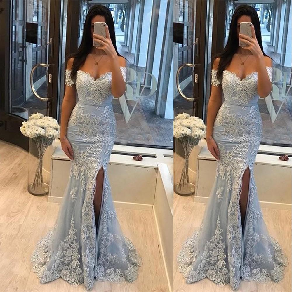 2021 Light Blue Gray Mermaid Evening Dresses Off the Shoulder Lace Appliques Crystal Beaded High Side Split Tulle Party Dress Prom Gowns