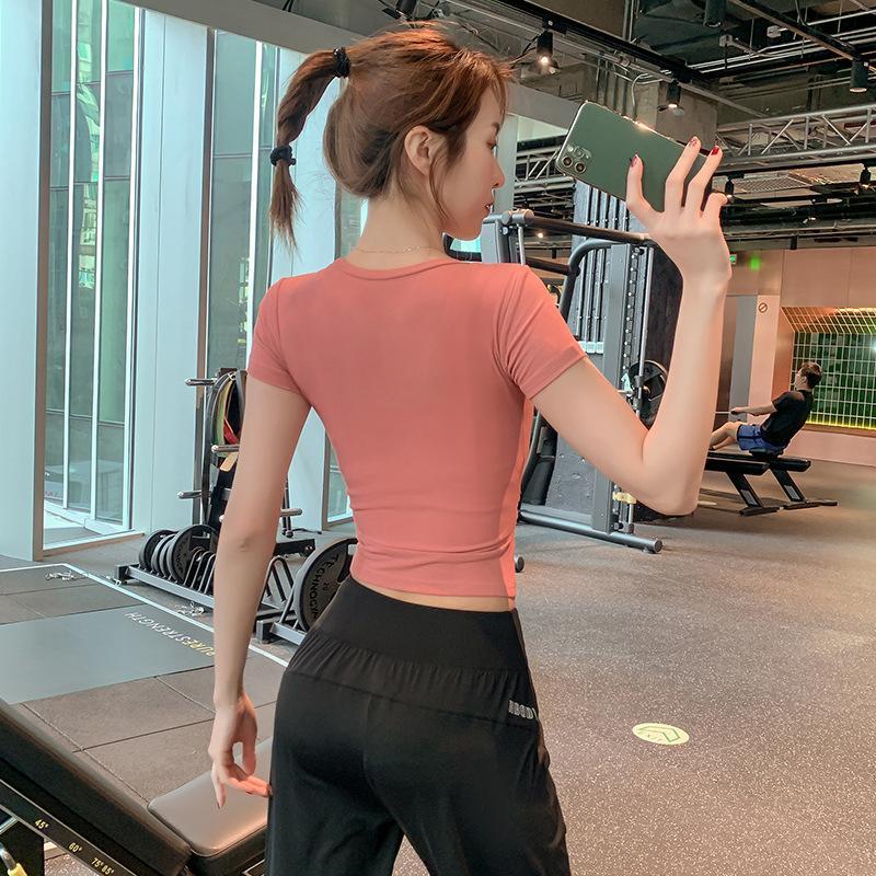 Lulu legging tarzı fabrika doğrudan satış internet ünlü iplik t-shirt bayan kısa kollu hızlı kurutma açık spor ve rahat egzersiz