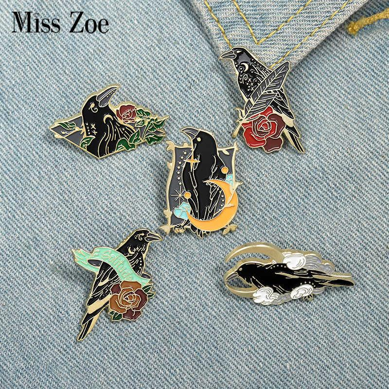 Flowers Crow Feather Raven Enamel Moon Custom Bird Brooches Bag Lapel Pin Punk Badge Gothic Jewelry Gift for Friends