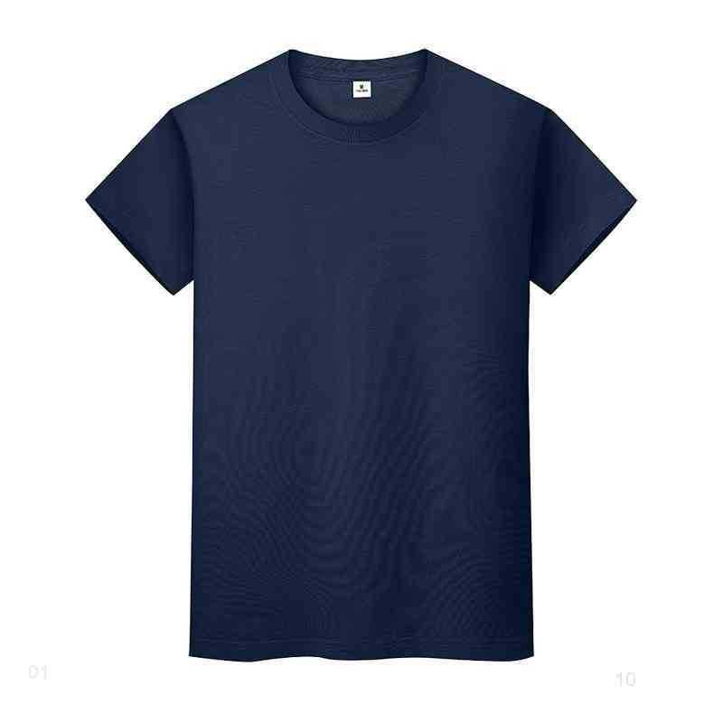 새로운 둥근 목 솔리드 컬러 티셔츠 여름 코튼 바닥 셔츠 반팔 망 및 여성 반 슬리브 0ftxiiq