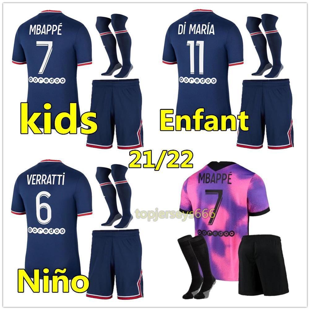 MBAPPE KEAN soccer jersey 21 22 Maillots de football shirt 2021 2022 MARQUINHOS VERRATTI KIMPEMBE men + kids kit socks uniforms enfants maillot foot fourth