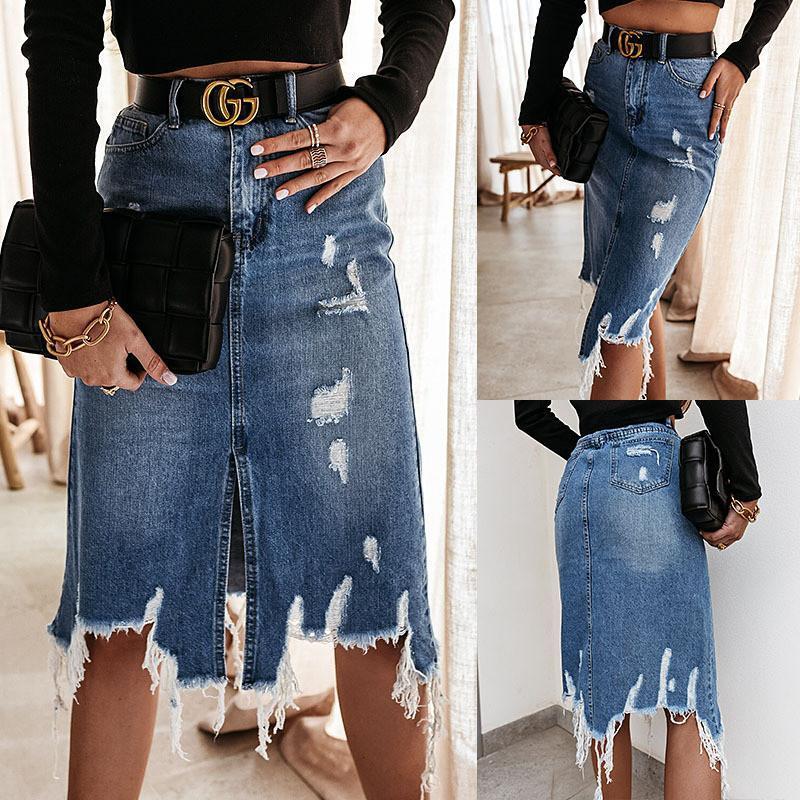 Skirts Plus Size Jean Sexy Fashion Women 2021 Summer Tassel