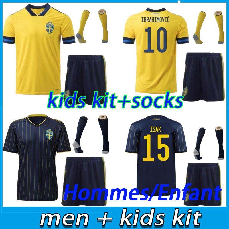 الرجال + الاطفال كيت السويد جيرسي 2021 الفانيلة لكرة القدم الوطنية الصفحة الرئيسية ابراهيموفيتش فورسبيرج Kallstrom 20 21 الكبار طفل قمصان كرة القدم