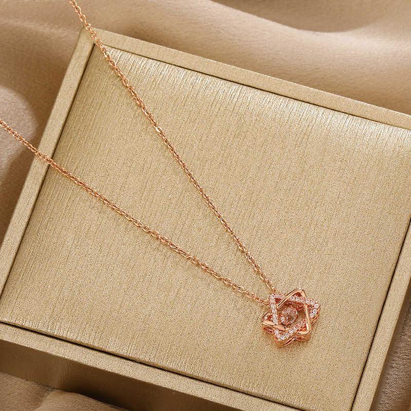 Colar Rose Coração de Ouro Nelace Mulheres Smart Flash Diamante Clavícula Chain Heartbeat Pingente