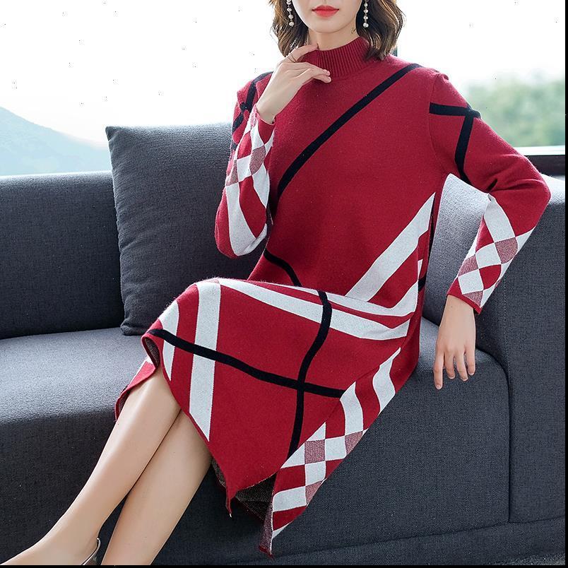 Plaid Long Womens Kleid Ärmel Elegante Lose Knie Strickkleider Herbst Winter Red Beige Schwarzer Pullover