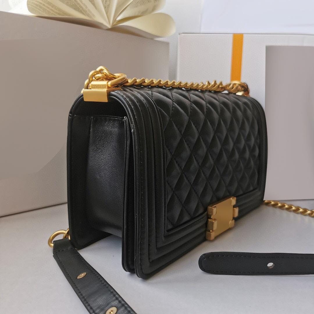 Classic ladies crossbody lamb bags high quality fashion patent leather hand bag real sheepskin handbag gold chain flap wholesale with box