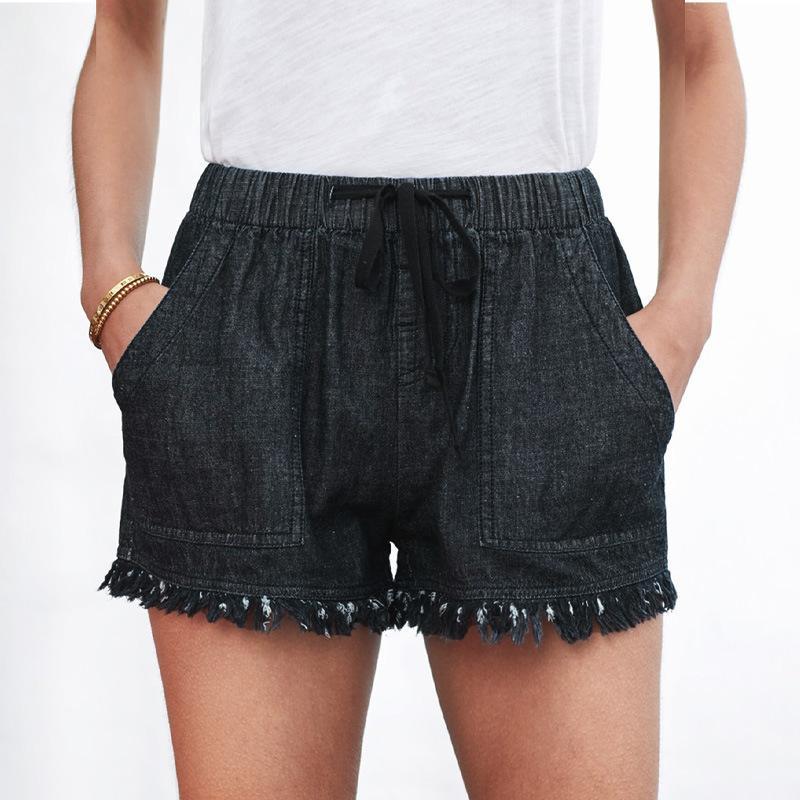 Jeans shiying Sommer neue elastische Gürtel Fransen hohe Taille Shorts Frauen 77959