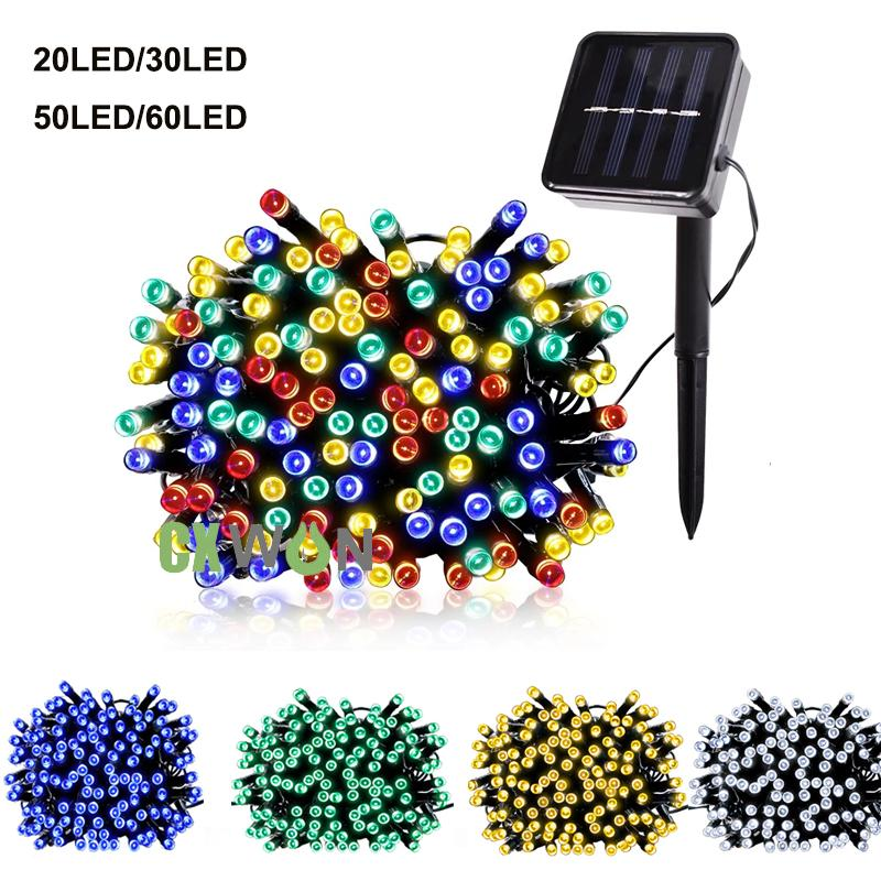 5m 7m Solar Lamps LED String Light 20/30/50/60 LEDS Outdoor Fairy Holiday Christmas Party Garlands Lawn Garden Lights Waterproof