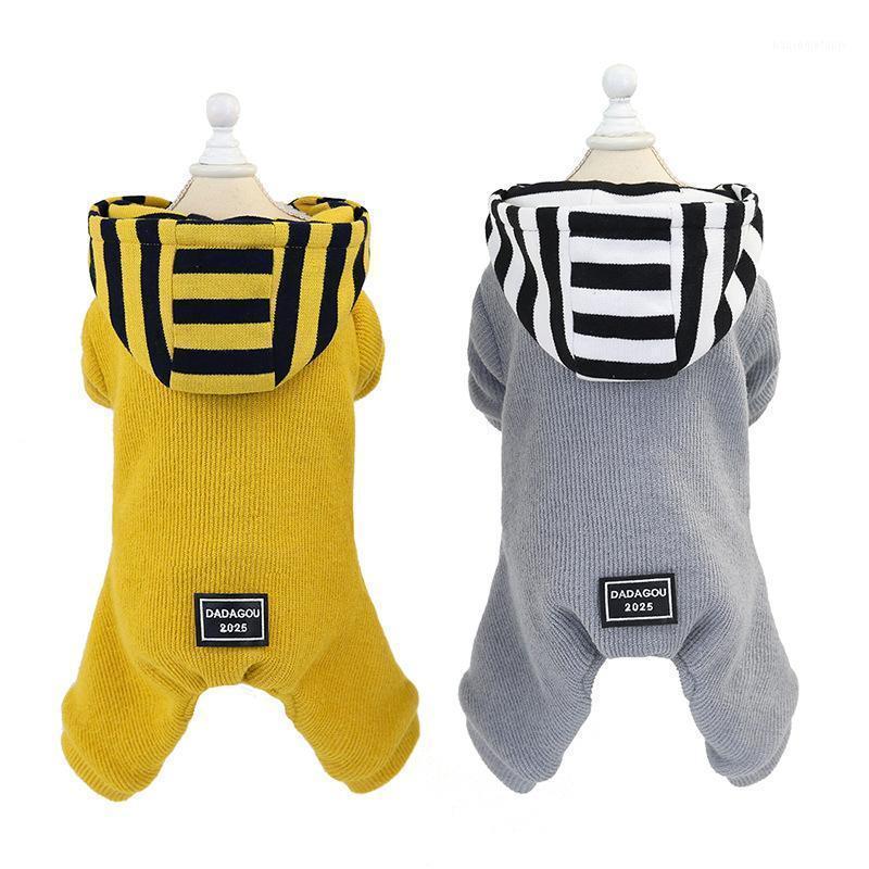 부드럽고 편안한 따뜻한 노란색 회색 색상 4 다리 코튼 패딩 애완 동물 용품 개 및 겨울 두꺼운 양모 Coat1