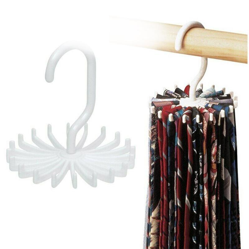 Aufhänger Racks 1 STÜCKE 20 Krawattenbügel Home Kleiderschrank Schrank Krawatten Schals Organizer 360 Grad rotierende Kunststoff Socken Haken