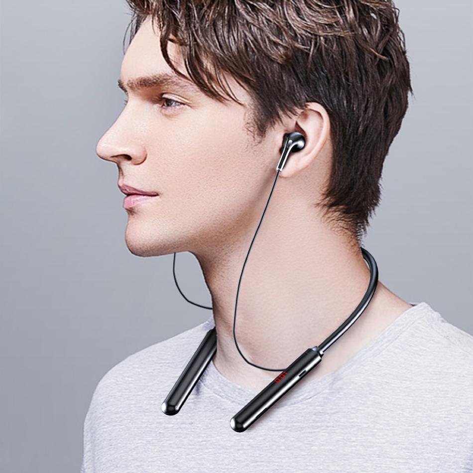 S960 sem fio Bluetooth 5.0 fones de ouvido estéreo esportes à prova d 'água à prova de pescoço de pescoço de pescoço com exibição LED Playback de música cartão TF