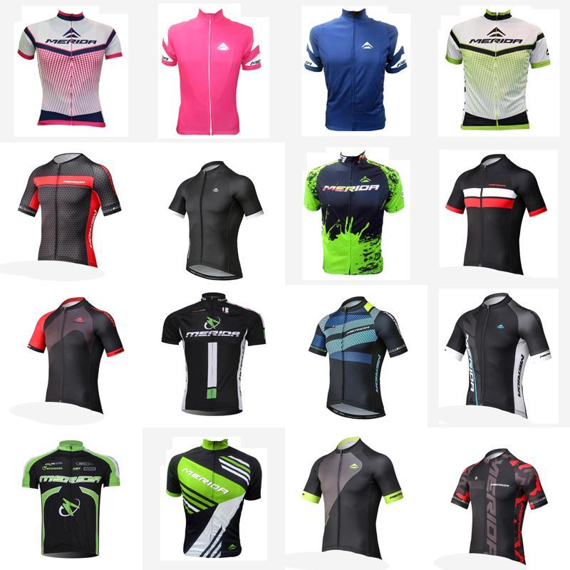 Merida Team Cycling Maniche corte Jersey Estate Mountain Bike Abbigliamento Sport Maillot Camicia corta Camicia Bicicletta Vestiti da bicicletta Top Indossura uniforme