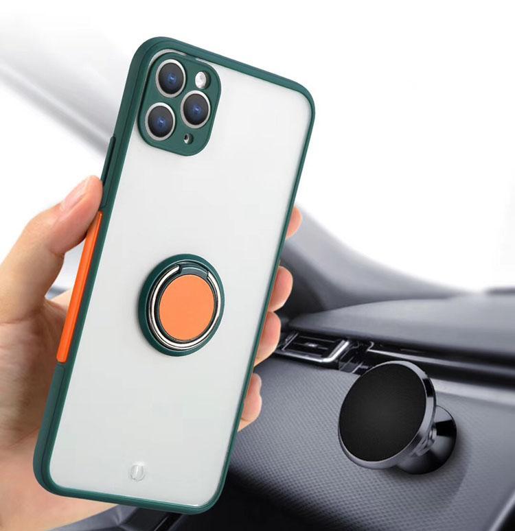 Casse del telefono opaco antiurto anti-knock morbido TPU supporto protettivo coperchio clip clip anello shell mobile per iPhone 7 8plus xr x max 11