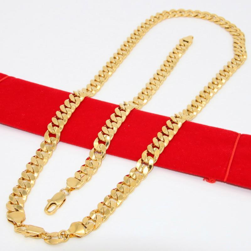 أقراط قلادة رجالي مجوهرات مجموعة الذهب الأصفر مملوءة الصلبة شقة قطع كبح رابط سلسلة + سوار (24 بوصة 8.26 بوصة)