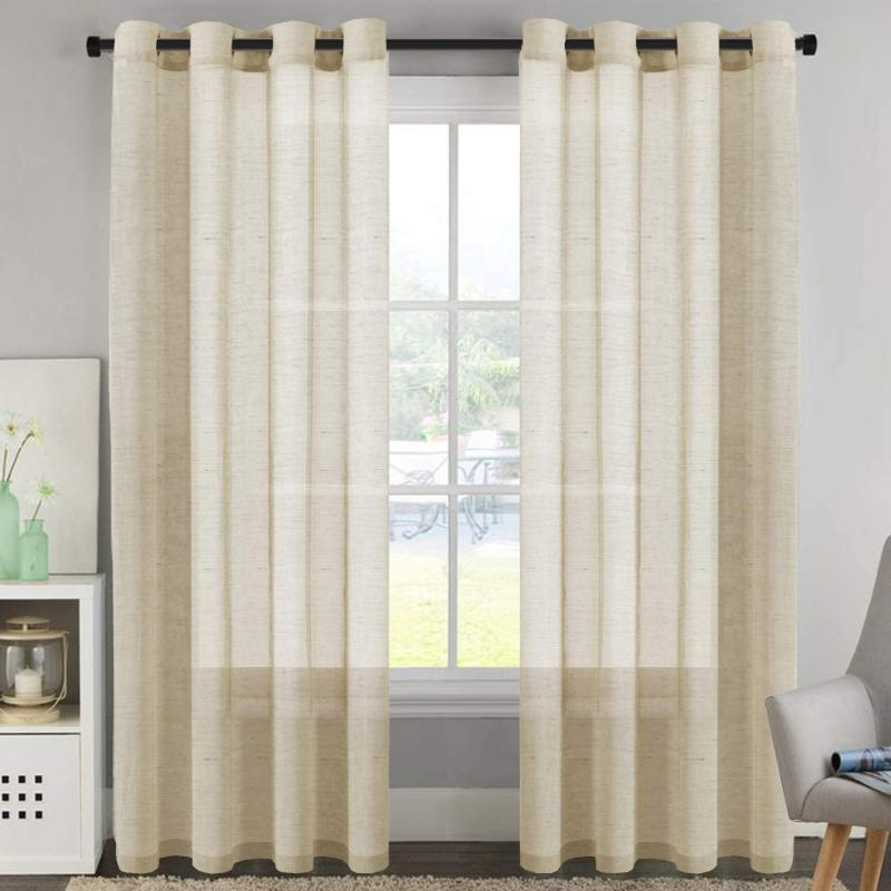 Натуральные сплошные цветные занавески для гостиной света Уменьшение чистых шторы Никель втулка доска Драпс