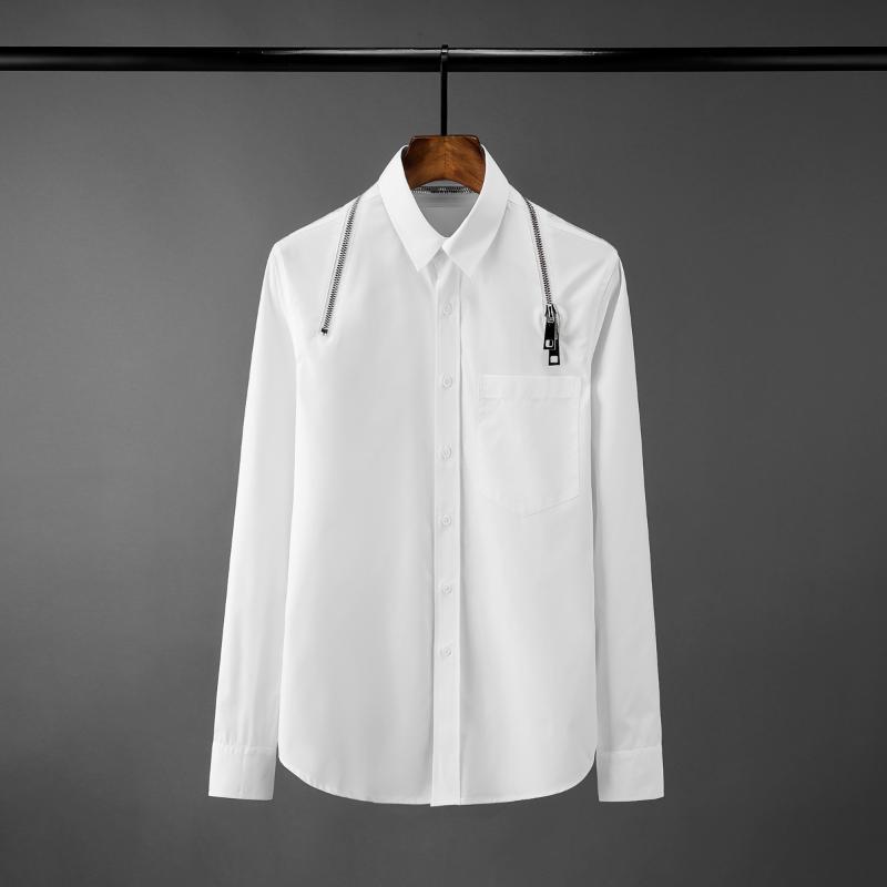 클래식 블랙 망 셔츠 고품질 솔리드 컬러 서라운드 지퍼 디자인 긴 소매 드레스 느슨한 남성 2XL 남성 캐주얼