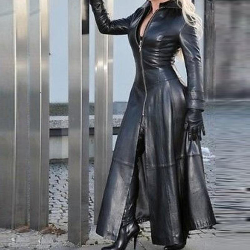 Laamei Vintage PU Куртка 2021 Зима X-Long Женщины Искусственный Кожаный Пальто Женщины Мода Сплошной Столбуз Воротник Зиппер Ретро Пальто Женщина