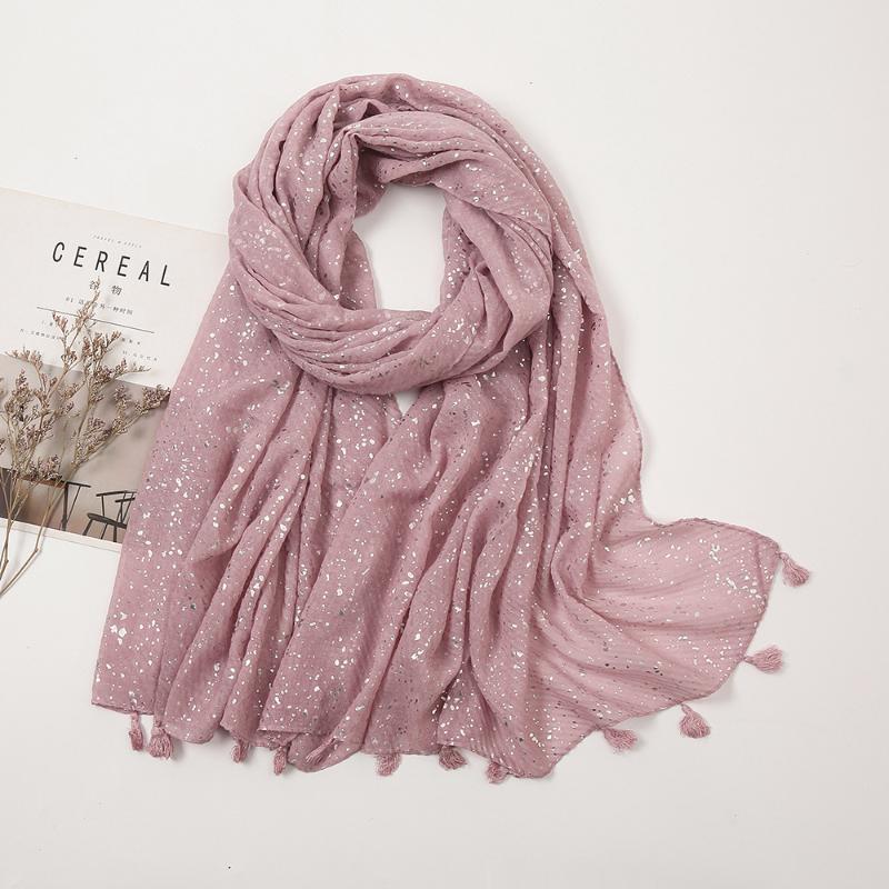 Big Size Plain Glitter Tassel Viscose Shawl Scarf Lady High Quality Wrinkle Wrap Stole Bufandas Muslim Hijab 190*85Cm Scarves
