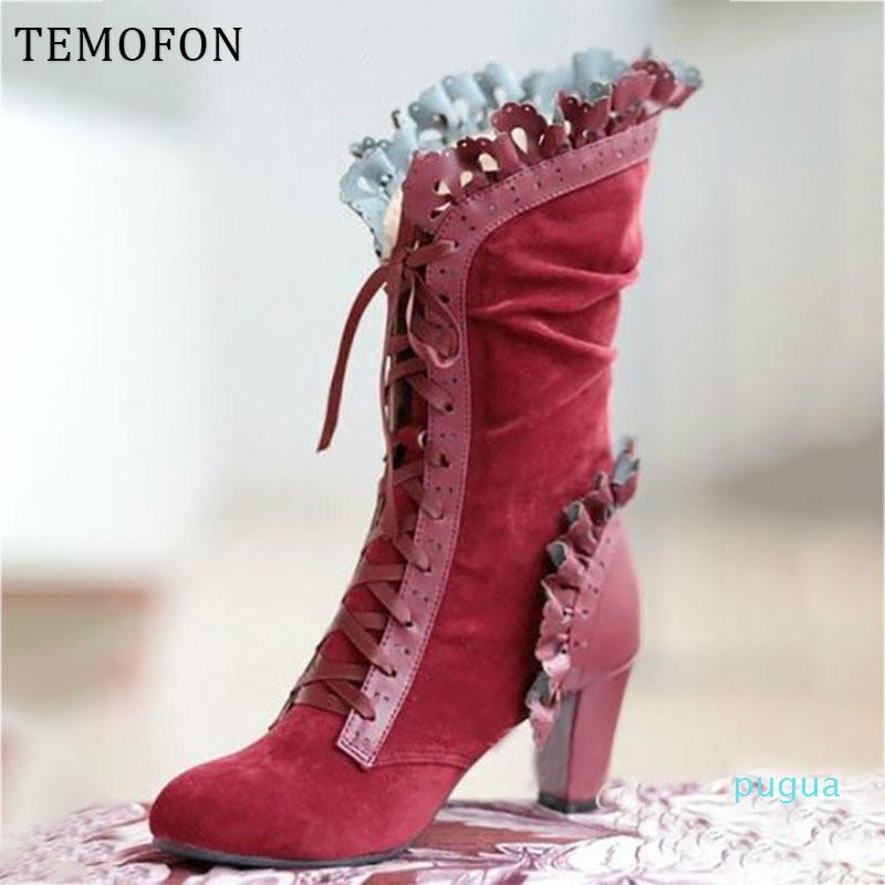 High Heel Boots Women Steampunk Women Sexy Leather Suede Boots Autumn Vintage Winter Shoes Women Lace Up Cosplay Boots