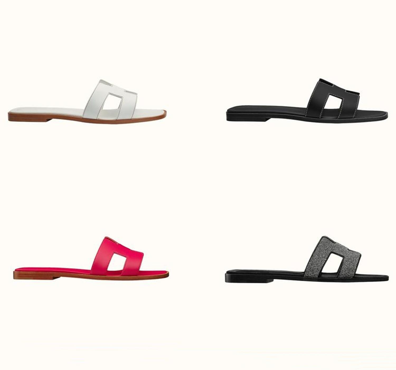 Sliders de luxe Sandales Femme Sandales Femmes Diapositive Chaussures Chaussures En Cuir Véritable Flip Flops Dames Santon avec Box Dust Sac