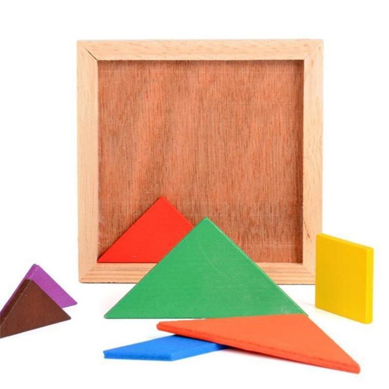 Novo Hot 20 PCs Atacado Desenvolvimento Mental Tangram Tangram Wooden Jigsaw Puzzle Brinquedos Educativos para Crianças 944 V2