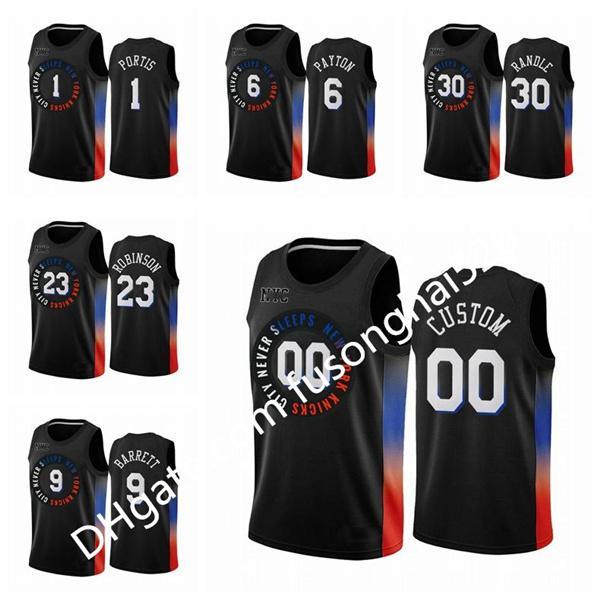 Ucuz Baskı erkek Kadınlar Çocuklar Herhangi Oyuncu RJ 9 Barrett Bobby Portis Mitchell Robinson Julius Randle Özel Şehir Basketbol Forması Yeni Üniforma