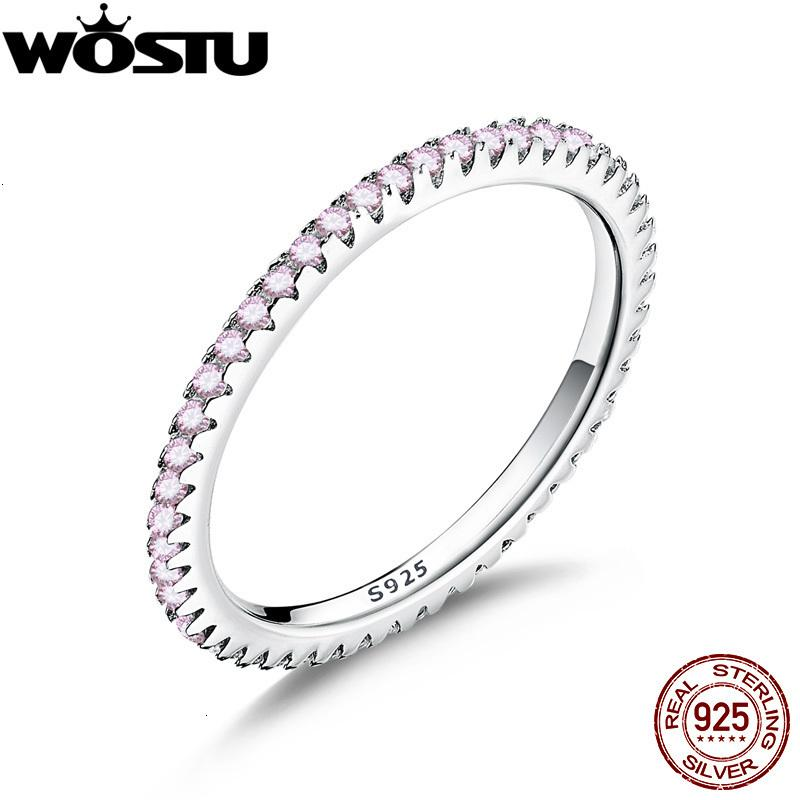 Wostu Real 925 Sterling Glitter Pink CZ Círculo apilable Anillos de dedo para mujeres Compromiso Sier Sier Jewelry CQR066