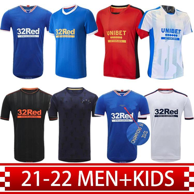 2021 Rangers 150 aniversario Jerseys de fútbol Glasgow 2022 Formación Campeones de Tee 55 Defoe Player Versión Barker Morelos Especial 21 22 Camisetas de fútbol Hombres + Kit Kids