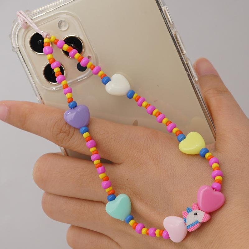 Link, Chain Female Color Beads Soft Pottery Love Mobile Phone Strap Stweet Candy Style U Disk Anti-lost For