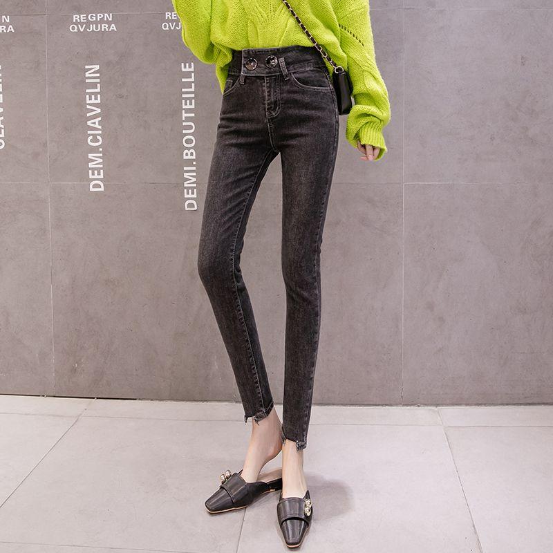 Kog506 negro ceniza alta cintura jeans nuevo femenino espectáculo de primavera alto cultivar su moralidad espectáculo estiramiento apretado bromista pies nueve poi