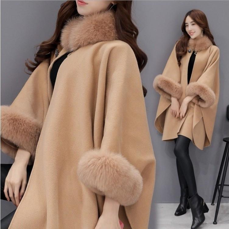 Winter Clothes Korean Version Coat Of The Fur Collar Mid Length Woolen Temperament Cloak Shawl Women Fashion Loose Tops Women's Wool & B Ble