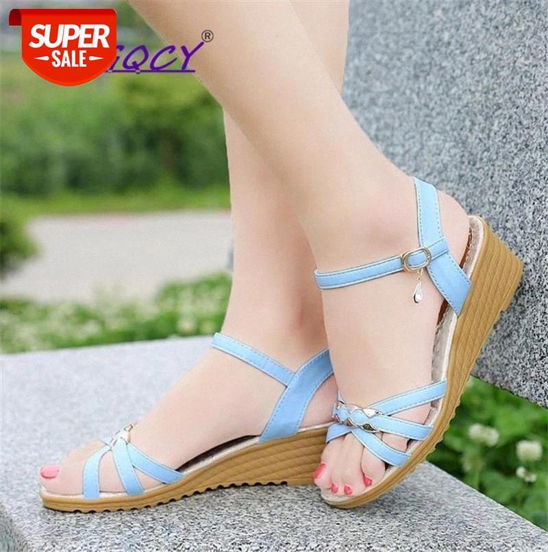 Open toe Metal Decoration Wedges Sandals women 2019 new summer shoes Tendon bottom flat Buckle Strap Non-slip #hc8f