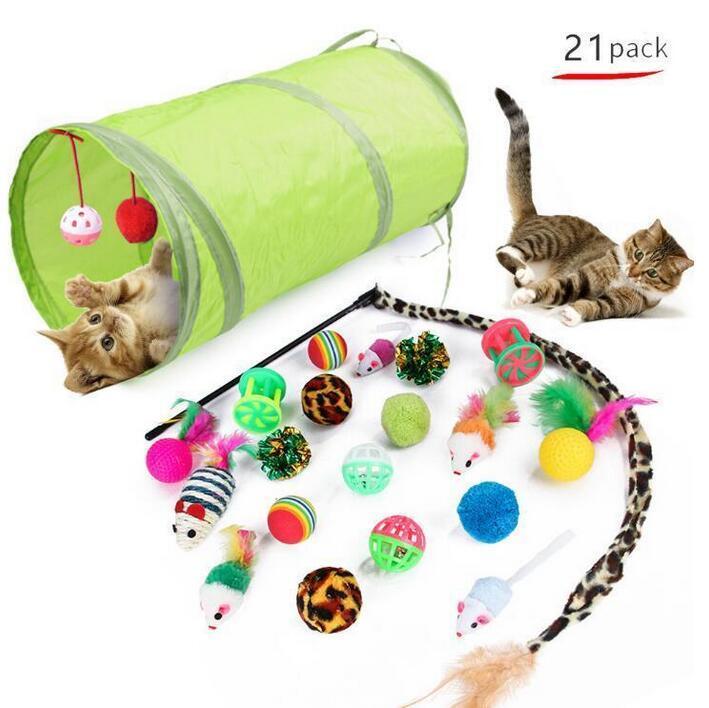 고양이 장난감 터널 고양이 티저 실내 접이식 고양이 텐트 드릴 홀 게임 파이프 애완 동물 용품 고양이 강아지 장난감 가제트
