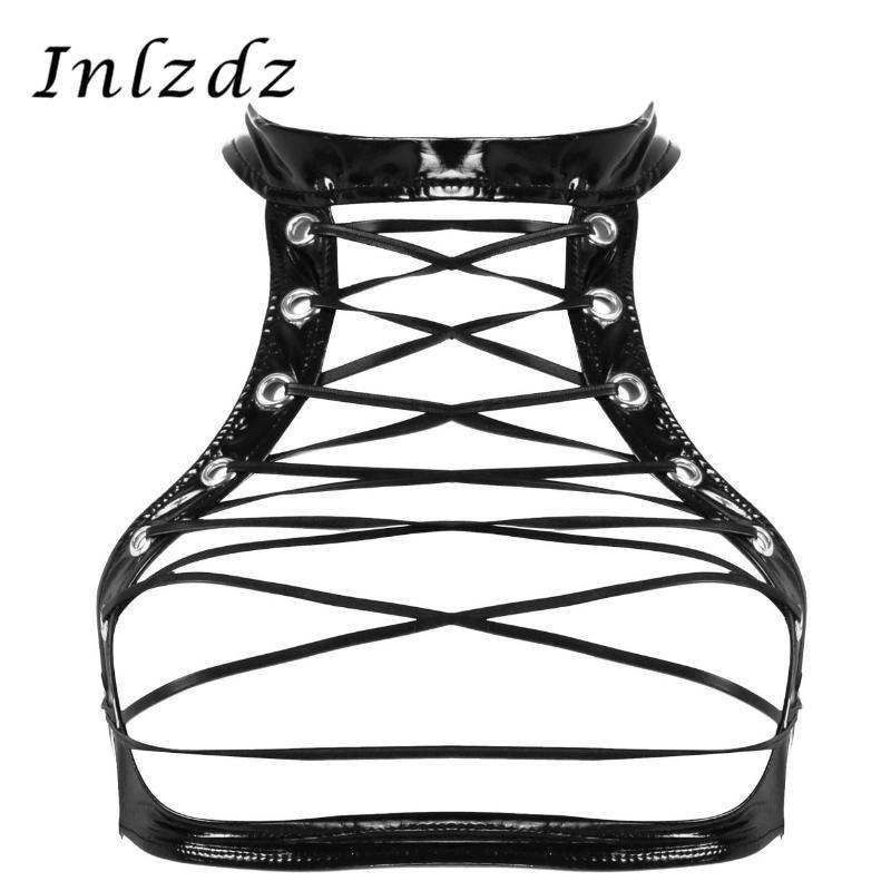 Bayan Erotik Lingerie Sutyen Islak Bak Patent Deri Sahte Boyun Kolsuz Oymak Crisscross Lace Up Ön Koşum Üstleri Bras