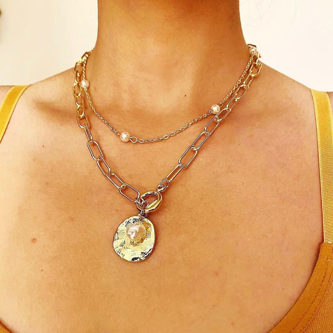 Dainty double layering necklaces gold plated paperclip chain necklace simple cute coin pendant choker layered neck wearing imitation pearl decorated