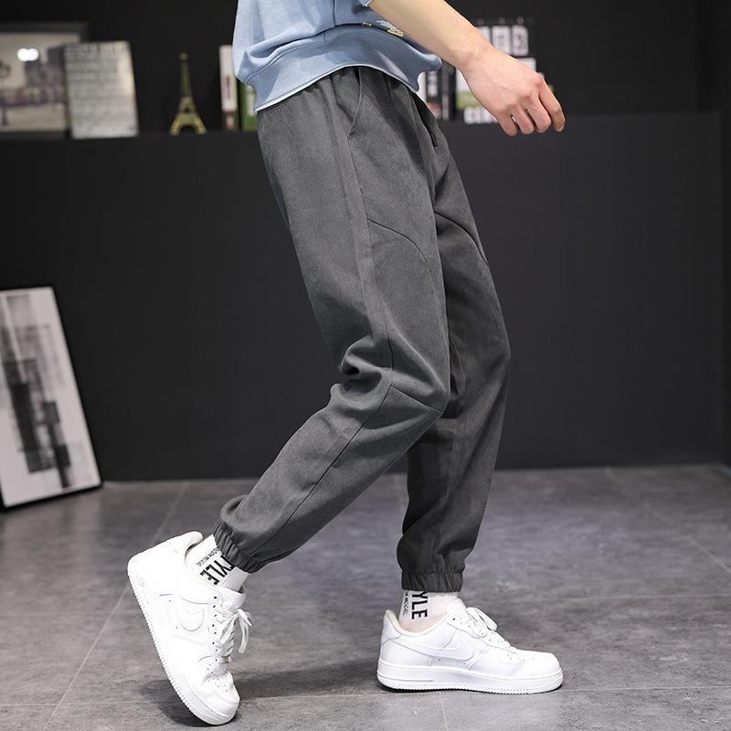 Calças masculinas 2021 primavera e outono casual juventude frouxo cinto capris cor sólida cor coreana meados cintura moda tendência