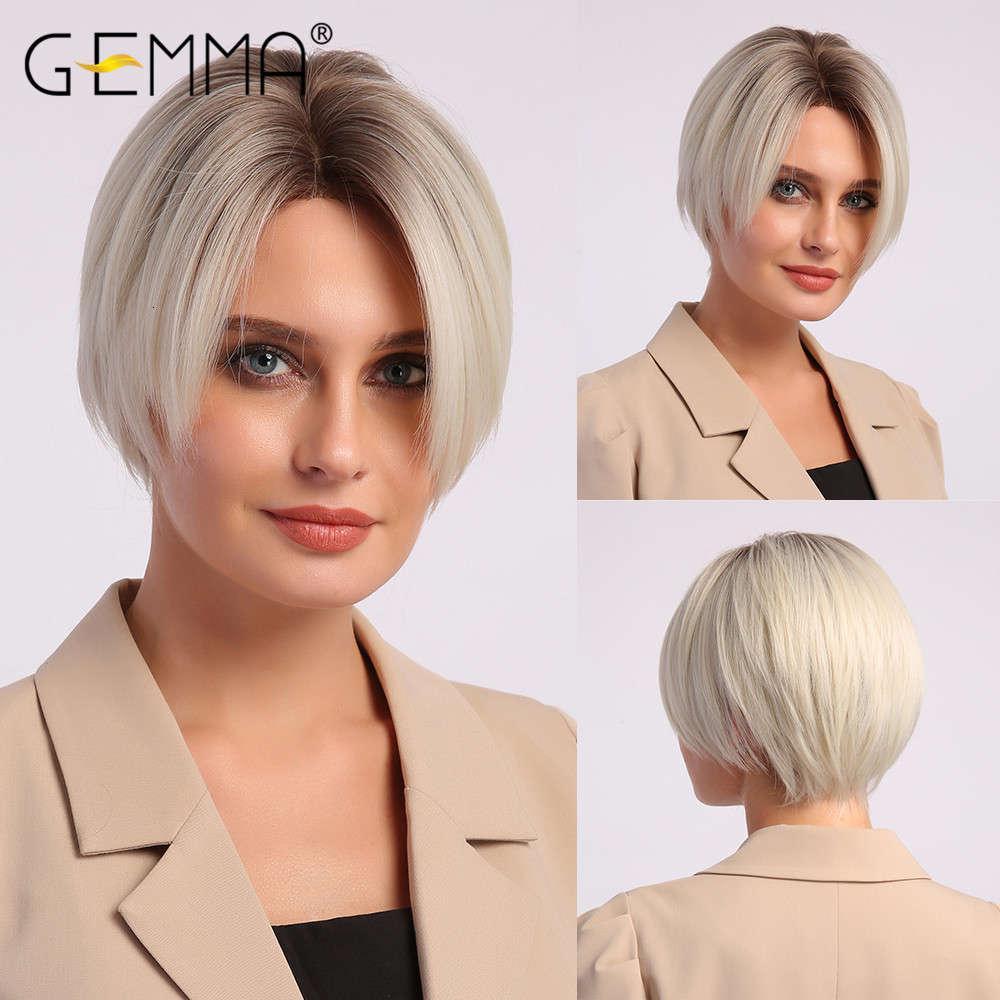 Peruk Gemma Bob Kısa Sağ Peruk Doğal Pixie Kesim Sentetik Gölge Siyah Kahverengi Sarışın Beyaz Saç Isıya Dayanıklı Fiber