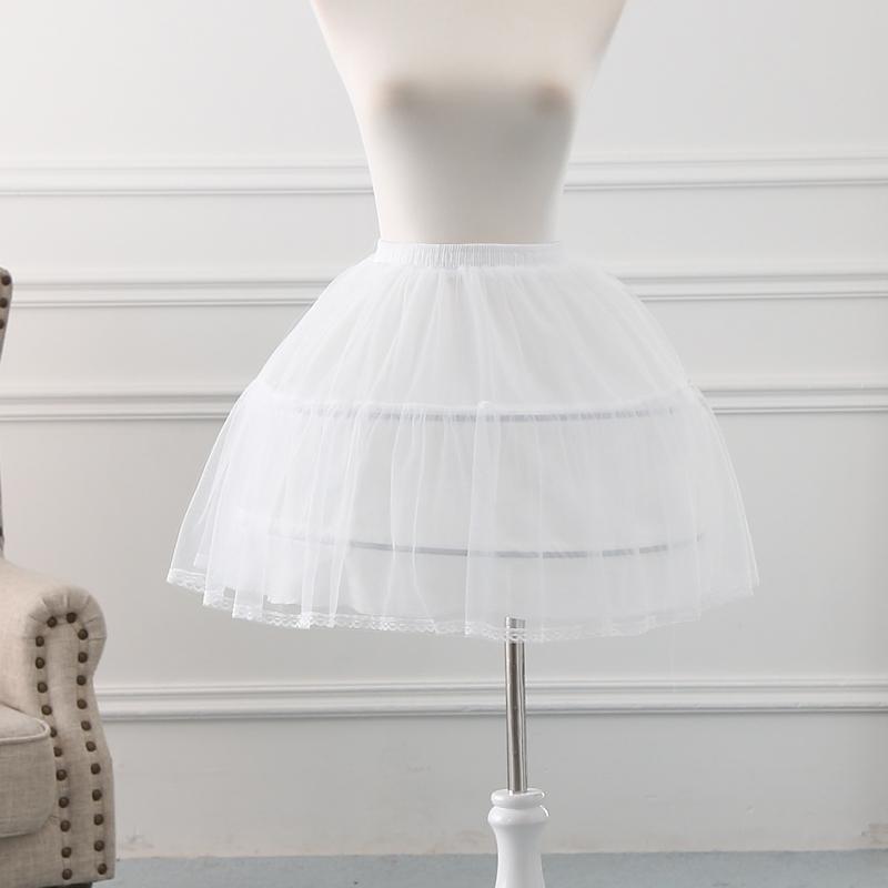 White 2 Hoops Petticoat for Girls Crinoline Underskirt Flower Girl Prom Ball Gown Dress Puffy Skirt Jupon