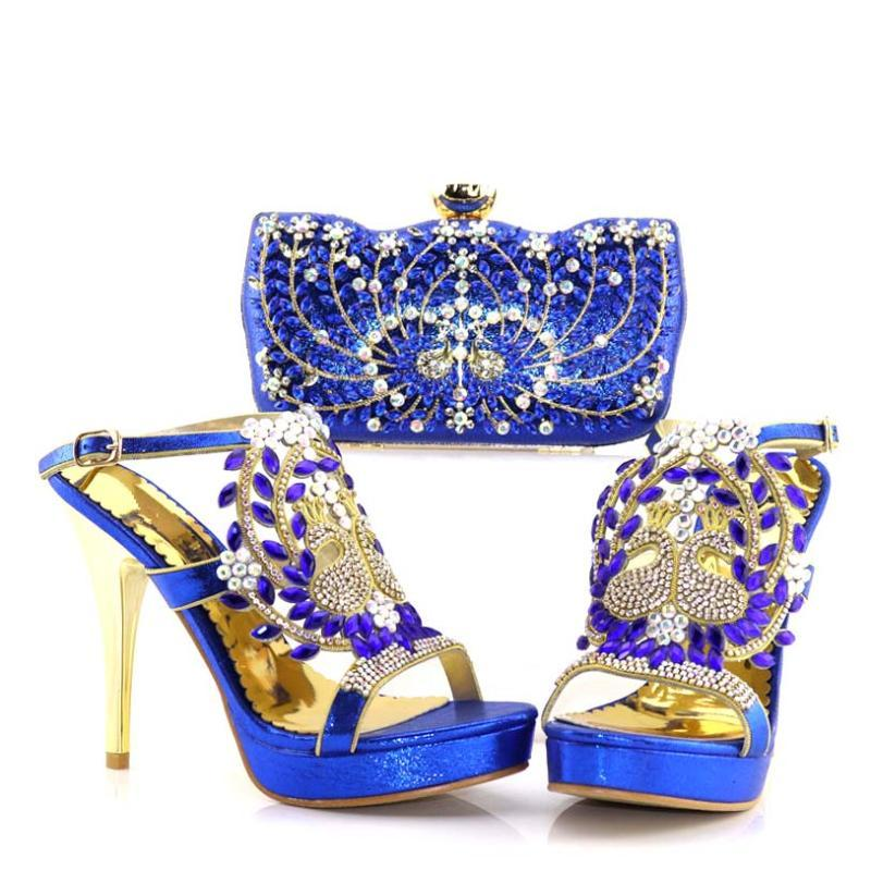 Dress Shoes 2021 Latest Blue Color African With Matching Bags For Wedding Italian Design Style Women And Handbag Set