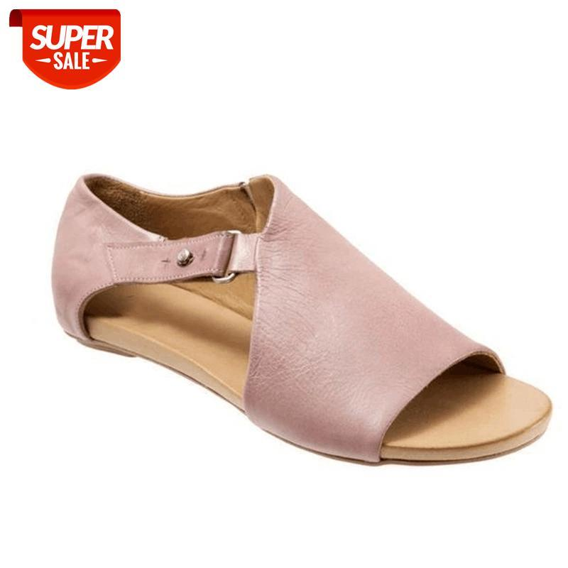 Fashion New Foreign Trade Large Size Sandals In Europe And The United States Flat-bottomed Women's Shoes #Lz6n