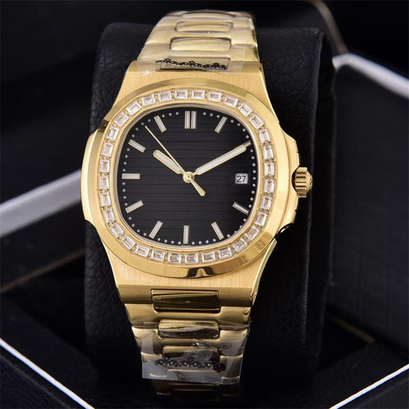 6 색 40mm Naut 18K Gold Watch 투명한 뒤로 다이아몬드 베젤 5711 / 1A 아시아 2813 자동 무브먼트 날짜 망 BDFL