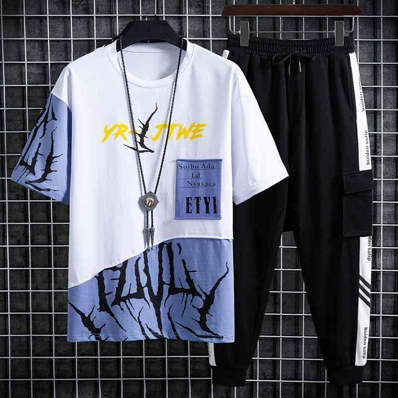 Nouveaux hommes Set HIP-HOP Streetwear Outwear T-shirt T-shirt T-shirt et pantalon de mode de la cheville M-3XL 210330