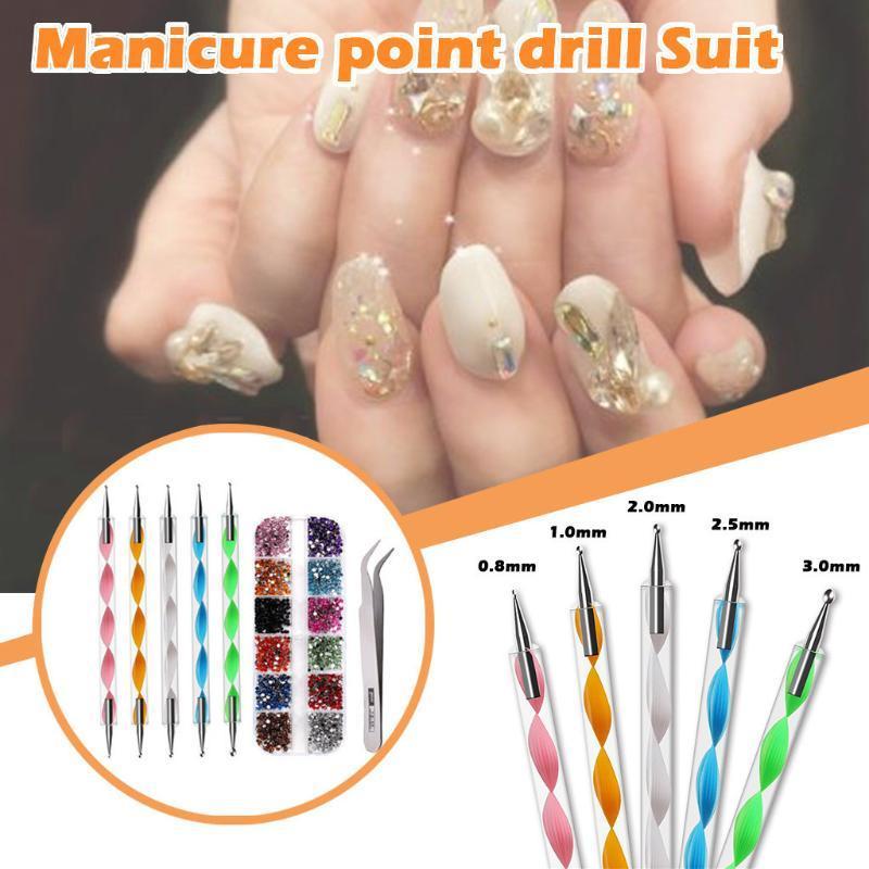 Kits de Arte Nail Multi Formas Cristal Rhinestone Flatback Decoração Ferramenta de Manicure Conjunto de Kit para pregos Decoração de Extensões