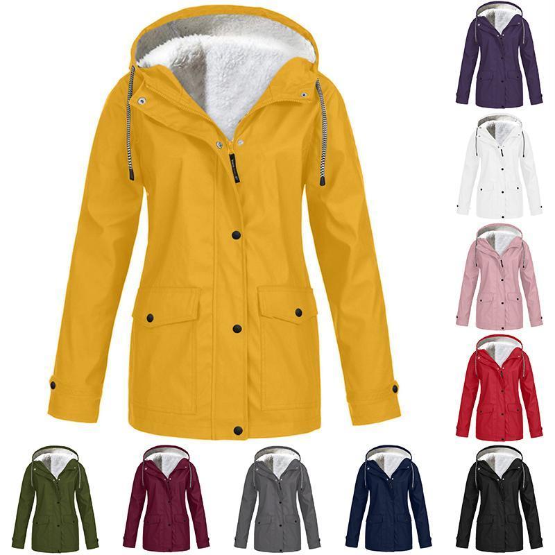 Women's Wool & Blends Women Jackets Winter Autumn Ladies Hooded Outdoor Raincoat Zipper Windbreaker Waterproof Outwear S-5XL Mujer Coat