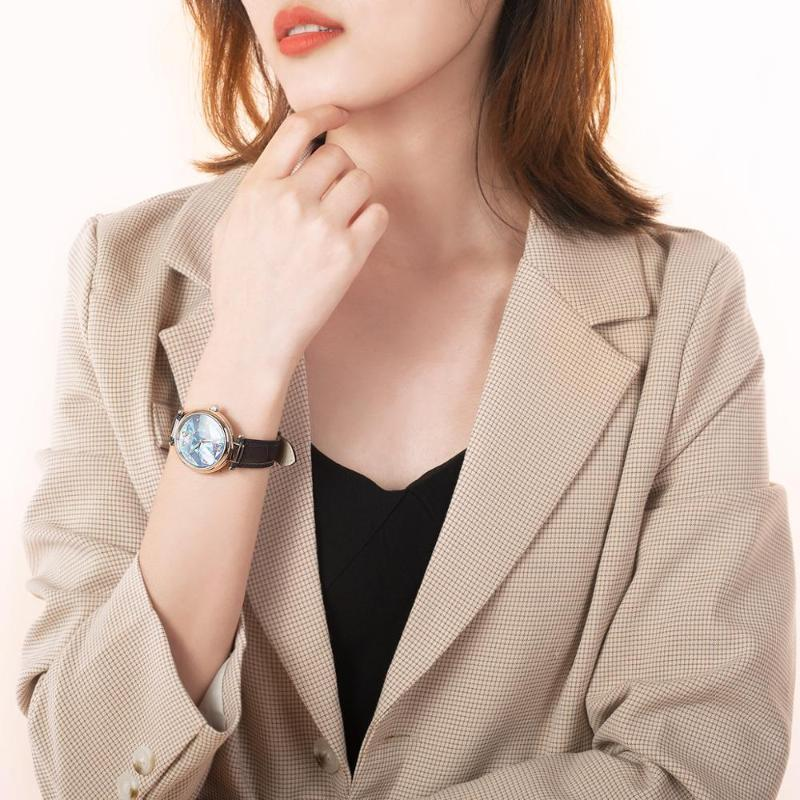 Wristwatches Reef Tiger/RT Design Fashion Ladies Watch Rose Gold Blue Dial Mechanical Leather Band Femme RGA1584