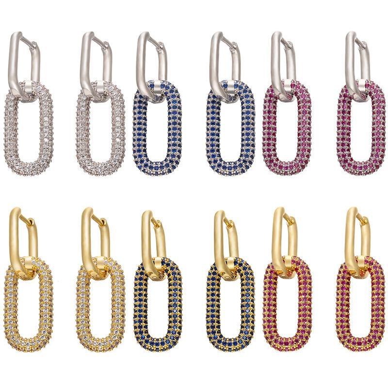 Zhukou One One Par Pendientes de aro Mujeres CZ Jewelry Gold / Silver Color Color Rectangle Hoops para regalos de cumpleaños del partido Modelo: VE129 1843 Q2