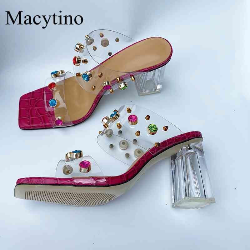 Slippers Summer ladies high-heeled slippers transparent with rivet gemstone decoration fashion party 7W8R
