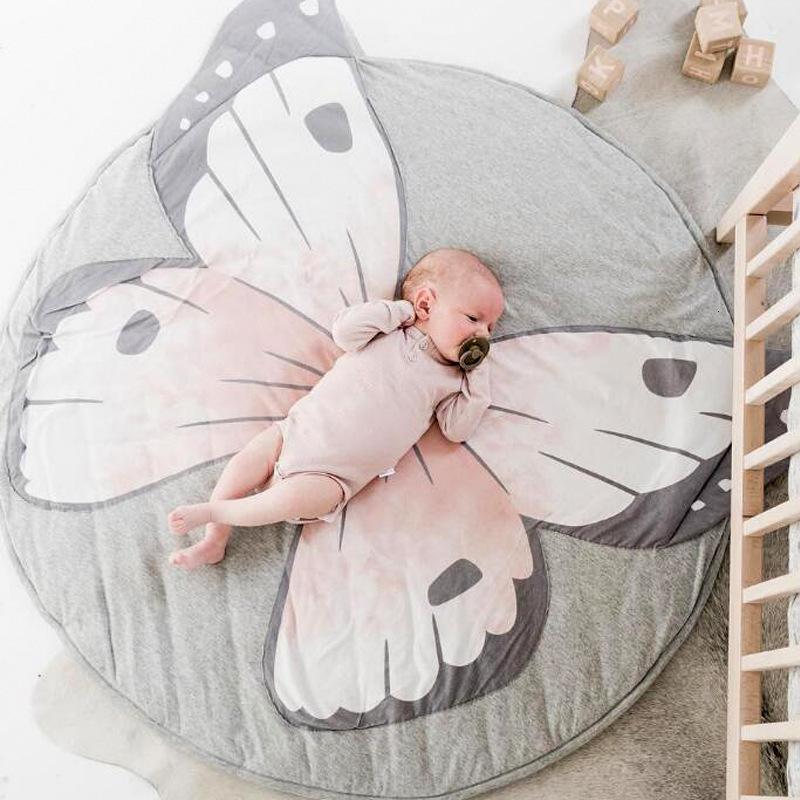 Ins New Baby Play Mats Bambino strisciante tappeto tappeto tappeto per pavimenti bambino Biancheria da letto a farfalla Coperta di cotone Game pad Bambini camera Decor 3D tappeti