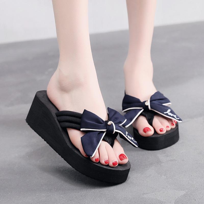 2021 moda chinelos de verão para mulheres artesanais arco cunha salto alto senhoras plataforma flip-flops fora da praia antiderrapante sapato de praia