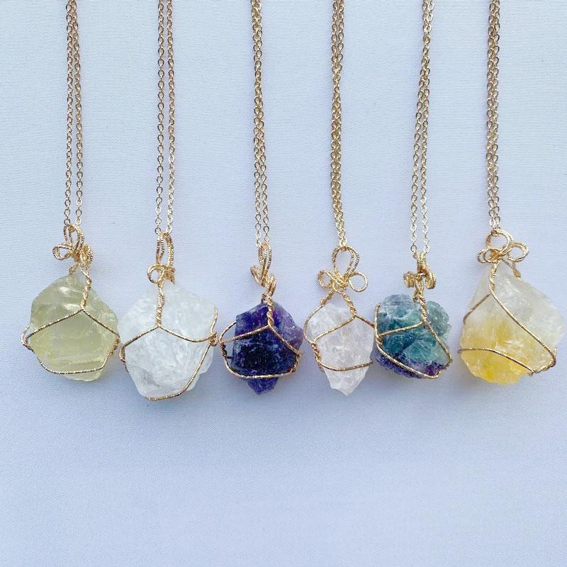 Cristal Natural Quartzo Cura Point Chakra Bead Gemstone Colares Mulheres Homens Pingente Original Stone Style Jóias